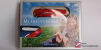 My First Victorinox  mit Säge mit Gravur in der Verpackung